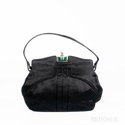Charles Blair Black Satin Handbag