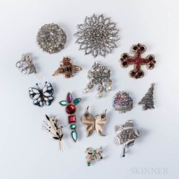 Group of Designer Costume Brooches