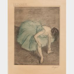 After Edgar Degas (French, 1834-1917)    Dancer Adjusting her Shoe