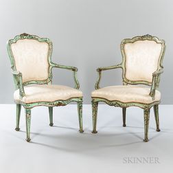 Pair of Louis XV-style Polychrome Painted Fauteuils