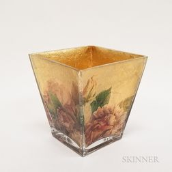 Gilt and Floral-decorated Glass Vase