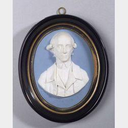 Wedgwood Pale Blue Jasper Dip Oval Portrait Medallion of Warren Hastings