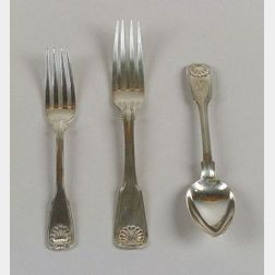 Eighteen George III Silver Paul Storr Threaded Shell Flatware Items