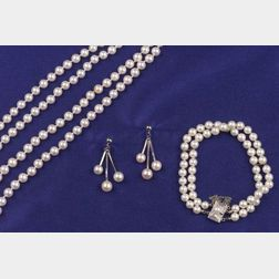 Cultured Pearl Necklace and Bracelet, Mikimoto