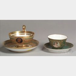 Two French Porcelain Teacups with Saucers