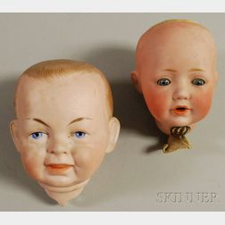 Two German Bisque Baby Doll Heads