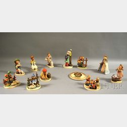 Eleven Hummel Porcelain Figures and a Collector's Club Member Plaque