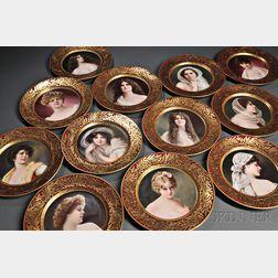 Set of Twelve Lenox Porcelain Hand-painted Portrait Plates