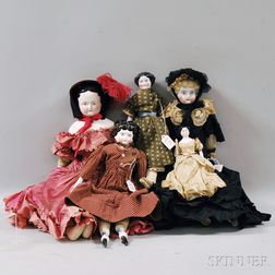 Five China Shoulder Head Dolls