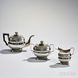 Three-piece American Coin Silver Tea Service