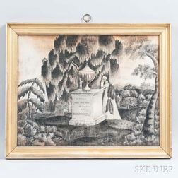 Schoolgirl Memorial to Mary Anne Ellis Watercolor on Velvet en Grisaille