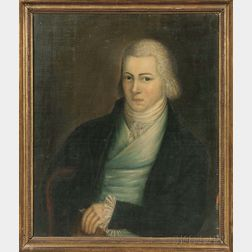 American School, Late 18th Century      Portrait of a Young Gentleman in a Powdered Wig