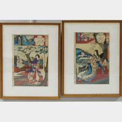 Two Framed Yosho Chikanobu Woodblocks