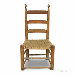 Turned Maple Slat-back Splint-woven Side Chair