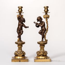 Pair of Dore and Patinated Bronze Figural Candlesticks