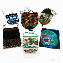 Six Vintage Beaded Pouches