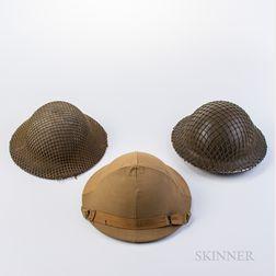 Three British WWII Helmets