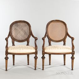 Pair of Beechwood and Caned Louis XVI Fauteuils
