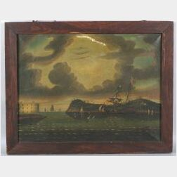 Attributed to Thomas Chambers (London, New York, and Boston, 1808-1866)  Threatening Sky, Bay of New York.