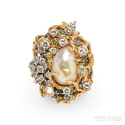 18kt Bicolor Gold, Color-treated Diamond, and Diamond Ring, Arthur King