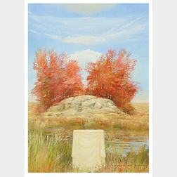 Adam Cvijanovic (American, b. 1960)    Draped Object in an Autumn Landscape