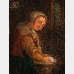 Manner of Gabriel Metsu (Dutch, 1629-1667)      Laundress at Work in an Interior