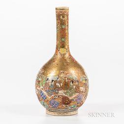 Satsuma Crane-neck Bottle Vase