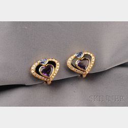18kt Gold, Amethyst, and Sapphire Earclips, Marina B., France