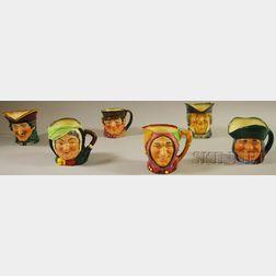 Six Assorted Royal Doulton Ceramic Character Jugs