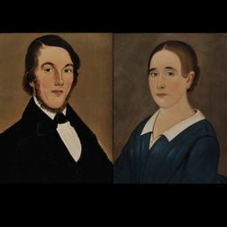 Prior-Hamblen School, 19th Century Portraits of a Young Lady and Gentleman of the Cyrus Young Family of Provincetown, Massachusetts. Un