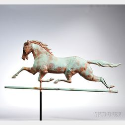 "Molded Copper and Cast Iron ""Dexter"" Running Horse Weathervane"
