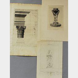 Three Unframed Architectural Prints: Giovanni Battista Piranesi (Italian, 1720-1778), Dimostrazione in Grande Della Modinatvra Della Co