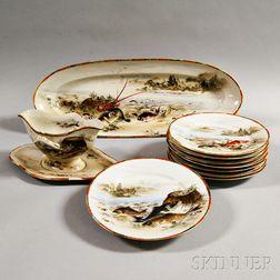 Ten-piece Japanese Porcelain Fish Set