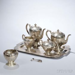 """Five-piece Richard Dimes """"Londonderry"""" Pattern Tea and Coffee Service with Associated Silver Tray"""