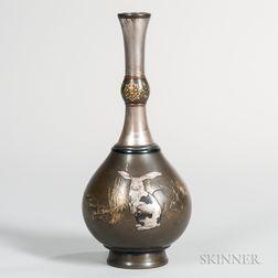 Mixed-metal-inlaid Silver Vase