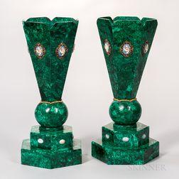 Pair of Russian Malachite Vases
