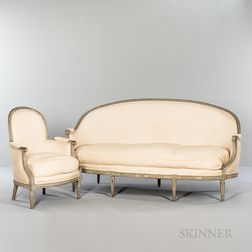 Louis XVI-style Painted Settee and Armchair