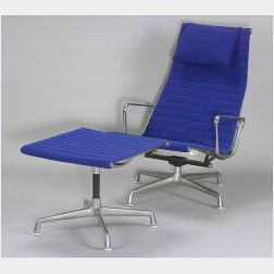 Charles and Ray Eames Aluminum Group Lounge Chair and Ottoman
