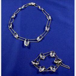 Set of Art Deco Sterling Silver and Rock Crystal Jewelry