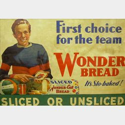 "Framed Printed Wonder Bread Advertising Panel ""First Choice for the Team, It's   Slo-baked, Sliced or Unsliced,"""