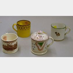 Four Small English Lustre and Transfer Decorated Staffordshire Cups
