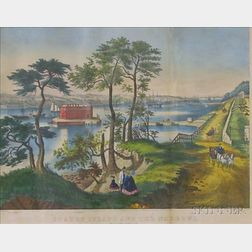 Framed Currier & Ives Lithograph Staten Island and the Narrows.
