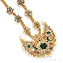High-karat Gold Gem-set Pendant Necklace