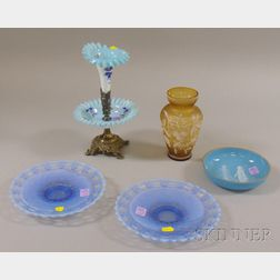 Five Pieces of Assorted Victorian Art Glass