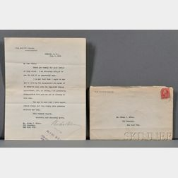 Wilson, Woodrow (1856-1924) Typed Letter Signed, 5 July 1915.