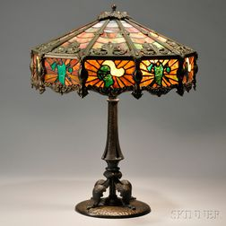 Mosaic Leaded Glass Table Lamp Attributed to John Morgan & Sons