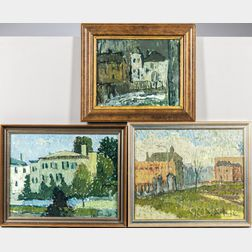 Michael Waterman (American, b. 1947)      Three Framed Landscapes: Monastery on State Street ,  Lincoln Park