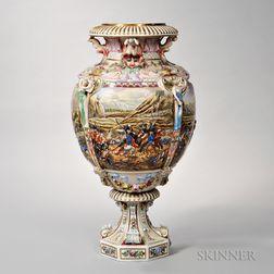 Large Capo di Monte Porcelain Floor Vase