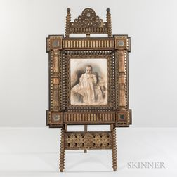 Carved and Painted Easel and Frame