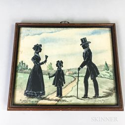 Framed Watercolor Silhouette of a Family